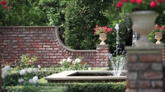 English  garden with a fountain Stock Footage