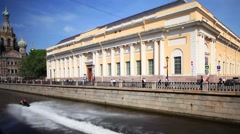 Jet skis on the canals of St. Petersburg Stock Footage