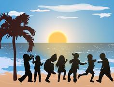 happy children on the beach - stock illustration