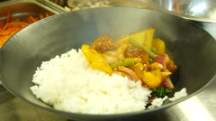 Rice with chicken and vegetables Stock Footage