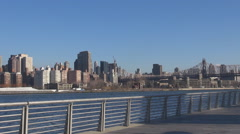 Panoramic view New York City Manhattan Queensboro Bridge sunny day NYC iconic US Stock Footage