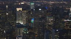 Business tower night New York City Manhattan downtown cityscape twilight USA US Stock Footage