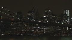 Amazing New York City skyline Brooklyn Bridge night traffic street skyscraper US Arkistovideo