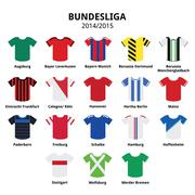 Bundesliga jerseys 2014 - 2015,German football league icons - stock illustration