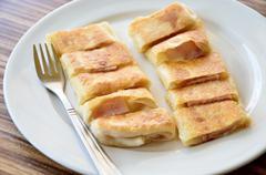 Roti in white dish, dessert Stock Photos