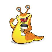 slug with a cup of coffee - stock illustration