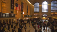 Famous Interior Grand Central Terminal New York City landmark people travel USA  Stock Footage