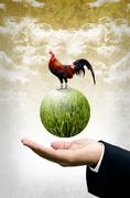 businessman show the green planet with chicken, organic farm concept - stock illustration