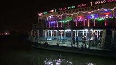 Ferry passenger ship on Hoogly river at night , Kolkata,India Stock Footage