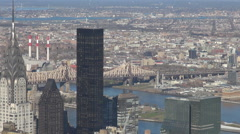 Aerial view New York City building Chrysler tower bridge sunny day NYC icon USA  Stock Footage
