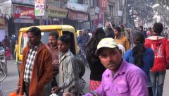 People on street  in ancient  sacred indian city Varanasi. Stock Footage