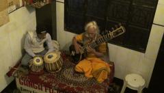 Indian musicians masters playing with tabla drums and sitar, Varanasi Stock Footage