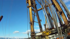 Drilling Rig Worker Catching the String POV Stock Footage
