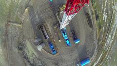 Drilling Rig Aerial Fly Over Derrick Stock Footage