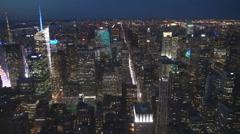 Aerial view Manhattan skyscraper night New York City landmark iconic USA NYC US  Stock Footage