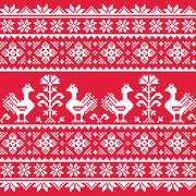 Ukrainian Slavic folk art knitted red emboidery pattern with birds - stock illustration
