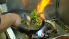 Noodles vegetables Meat  wok Stock Footage