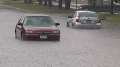 Flash flooding in Markham Ontario during severe thunderstorm and heavy rain - stock footage