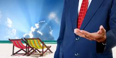 Stock Photo of businessman offer the summer trip, vacation concept