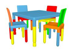 Preschool table and cairs Stock Illustration