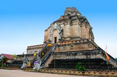 chedi luang temple in chiang mai - stock photo