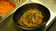 Asian dish Noodles  With meat Stock Footage
