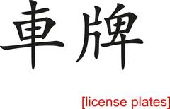 Chinese Sign for license plates Stock Illustration