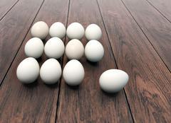 Dozen of eggs on wooden background Stock Illustration
