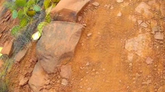 High Angle View Of Rocky Trail Going By- Red Rock State Park Stock Footage