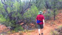 Man Hikes Curving Trail Red Rock State Park- Morning Stock Footage