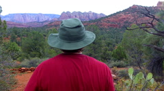 Man Hikes Red Rock State Park Trail Early Morning- Sedona AZ Stock Footage