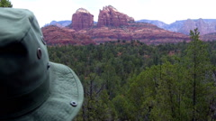 Man Looking At Cathedral Rock From Red Rock State Park Zoom Stock Footage
