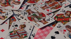 Playing card background rotate on table Stock Footage