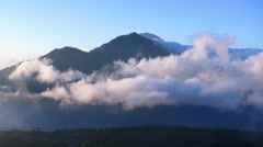 Beautiful view from mount Batur volcano at sunrise, Bali Stock Footage