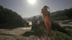 Rio De Janeiro beach swim suit model Stock Footage