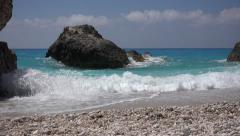 Ultra HD 4K Mediterranean Waves Coastline, Beach View, Vacation Tourism Seascape Stock Footage
