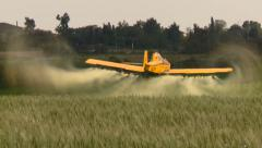 Aircraft. Yellow agriculture aircraft , crop duster  with sound Stock Footage