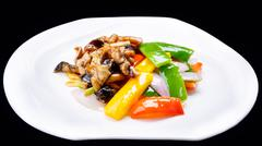 chinese stir fry chicken and mushroom  isolated on black background , chinese - stock photo