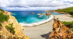 beautiful ocean coastline panorama in costa paradiso, sardinia - stock photo