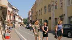 Pilies Street is one of the main streets in the Old Town of Vilnius Stock Footage
