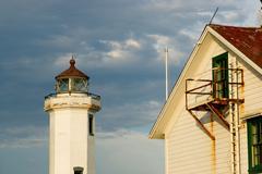Point wilson lighthouse puget sound fort worden Stock Photos