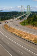 Highway 16 crossing puget sound over tacoma narrows bridge Stock Photos