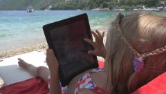 Child on Tablet on Beach, Little Girl Playing Ipod on Seashore, People, Children Stock Footage