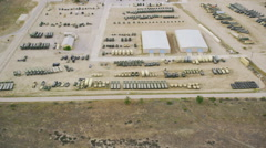 Aerial view of a Military Army base Stock Footage