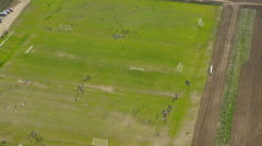 Aerial view of American soccer game Stock Footage