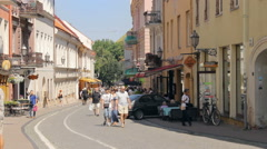 Pilies Street in the Old Town of Vilnius Stock Footage