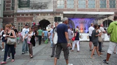 People in the old town in Gdansk, Poland during saint Dominic market Stock Footage