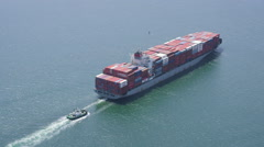 Aerial shot of container ship at sea Stock Footage