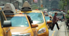 Cars yellow cabs traffic on Park Avenue in New York City 4k Stock Footage