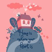 Home is where your heart is. - stock illustration